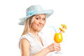 Blond woman holding an exotic cocktail isolated on white background Stock Image