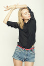 Blond woman model posing in studio Royalty Free Stock Photo
