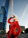 Blond woman outdoors Stock Images