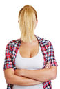 Blond woman with ponytail in front of face young a her Stock Photography