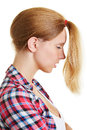 Blond woman with ponytail to the front young wearing her hair a Stock Photography