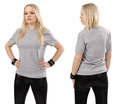 Blond woman posing with blank gray shirt Stock Images