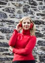 Blond Woman With Red Earmuffs ...