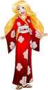 Blond woman in red kimono vector illustration of a caucasian traditional japanese Royalty Free Stock Images