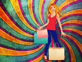 Blond woman with shopping bags colorful abstract background happy Royalty Free Stock Photos