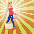 Blond woman with shopping bags colorful abstract background happy Royalty Free Stock Image