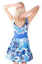 Blonde back with hands up Royalty Free Stock Photos