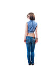 Blonde backview isolated full body dark on white shot Stock Photography