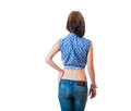 Blonde backview isolated torso dark full shot Royalty Free Stock Images