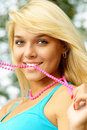 Blonde with beads Stock Photos