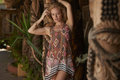 Blonde beauty rustic garden beautiful blond model posing in tropical on sunny day Stock Photos