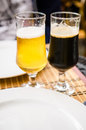 Blonde beer, dark beer Royalty Free Stock Photo