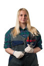 Blonde  with a big wrench Royalty Free Stock Photo