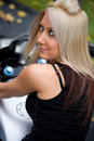 Blonde Biker Girl Royalty Free Stock Photo