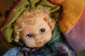 Blonde Blue Eyed Doll. Vintage plastic doll Royalty Free Stock Photo