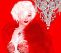 Blonde bombshell on red and pink abstract background this classic stands poses dazzling hollywood with her Royalty Free Stock Photos