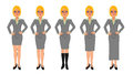 Blonde business woman grey skirt suit hands on hips Royalty Free Stock Photo