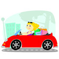 The blonde in the car Royalty Free Stock Image