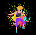 Blonde dancing zumba blond fitness girl with colorful splatter over black background Royalty Free Stock Photography