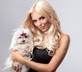 Blonde with dog Royalty Free Stock Photo
