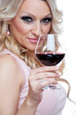 Blonde drinking red wine Stock Image