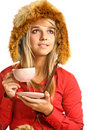 Blonde drinks hot tea Royalty Free Stock Images