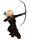 Blonde female archer kneeling with bow and arrow taking a shot d digitally rendered illustration Stock Image