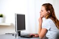 Blonde female receptionist on call center Stock Photography