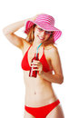 Blonde girl in beachwear drinking lemonade and having fun Royalty Free Stock Photos