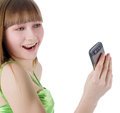 Blonde girl with cellphone on white portrait of blondie Royalty Free Stock Photo
