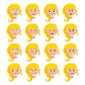 Blonde girl face expression, cartoon vector set isolated on white