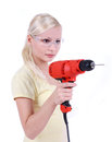 Blonde girl with goggles and drill isalated Stock Photo