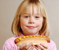 Blonde girl with hot dog Stock Photo