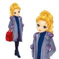 Blonde Girl In Long Coat