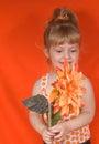 Blonde Girl in Orange