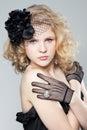 Blonde girl posing studio young Fotografia Stock