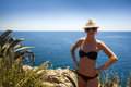 Blonde girl with sexy bikini, hat and sunglasses Royalty Free Stock Photo