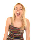 Blonde girl shouting Royalty Free Stock Photo