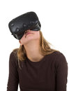 Blonde girl using VR - virtual reality headset