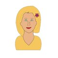 Blonde girl a vector illustration of a good looking cartoon with a flower in her hair Royalty Free Stock Photography