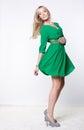 Blonde in green dress beautiful Stock Photo
