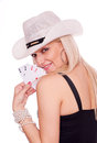 Blonde with hat holding poker of aces Stock Photos