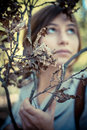 Blonde hipster girl in woodland on autumn Royalty Free Stock Photos