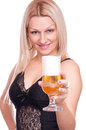 Blonde holding beer Royalty Free Stock Photo