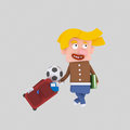 Blonde kid with suitcase