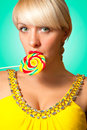 Blonde with lollipop Stock Image