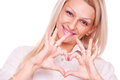 Blonde make heart shape Stock Photography