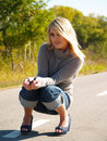 Blonde Model Outside Royalty Free Stock Photos