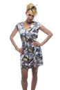 Blonde in motley dress Royalty Free Stock Photo