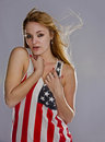 Blonde patriot Royalty Free Stock Photo
